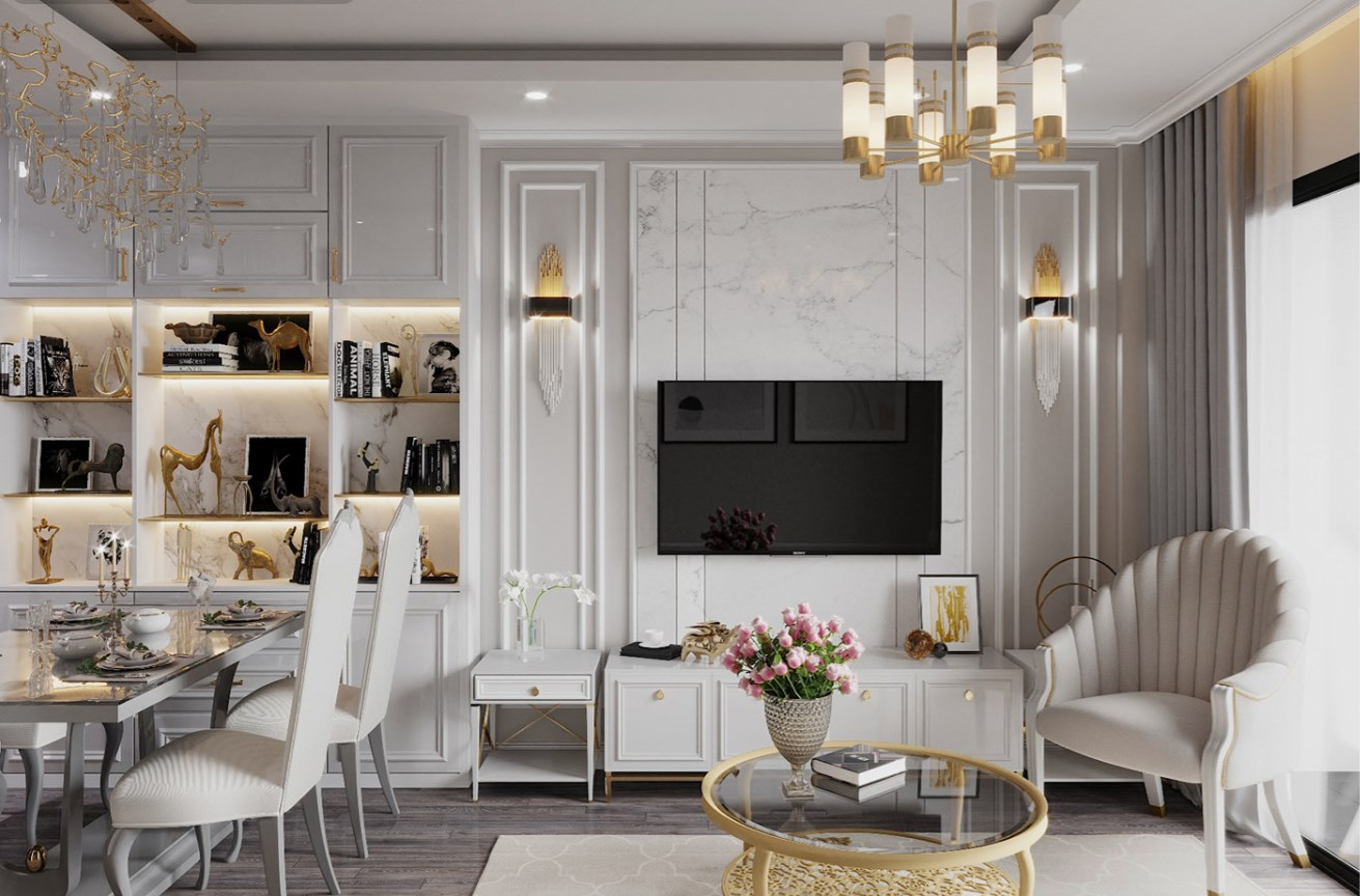 Thiết kế nội thất chung cư phong cách luxury 2021