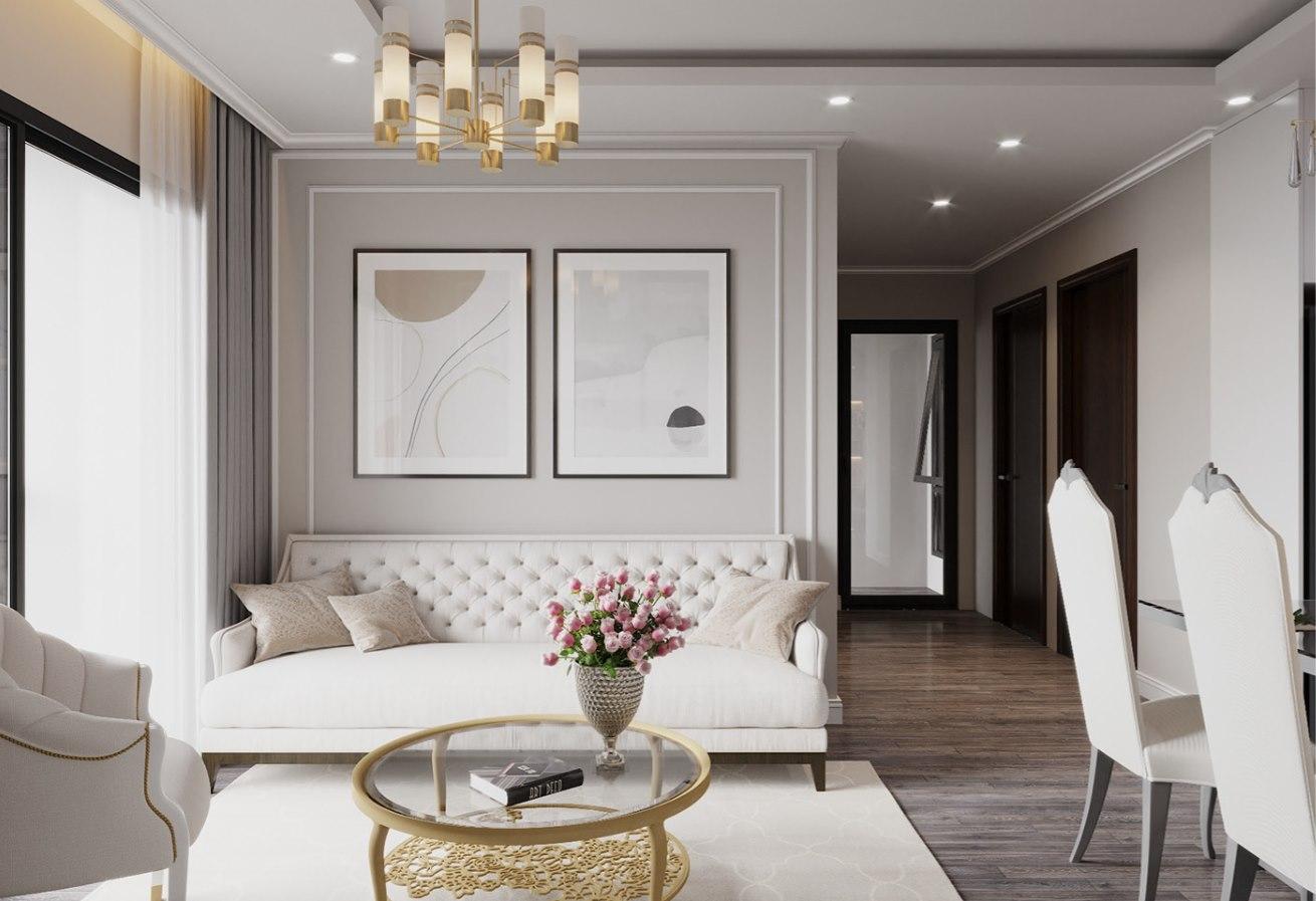 Thiết kế nội thất phòng khách chung cư phong cách luxury 2021